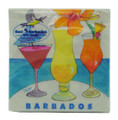Beverage paper napkin with cocktails in Barbados.