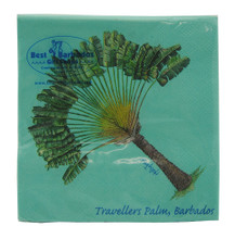 Beverage size paper napkin with a Travellers Palm by Holly Trew.