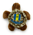Turtle magnet with embroidered Barbados flag.