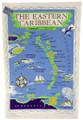 Hand screen printed Eastern Caribbean tea-towel.
