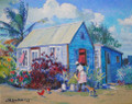 Tending her Plants (Blue Chattel House) by Jill Walker