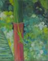Lizard on a Lipstick Palm by Sue Trew