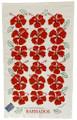 Hand screen printed red hibiscus tea-towel.