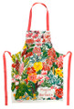 Hand screen printed flowers of Barbados apron.