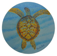 Trivet or hot mat with a turtle design.