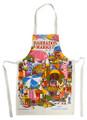 Hand screen printed market scene apron.