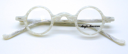 White and clear round frames