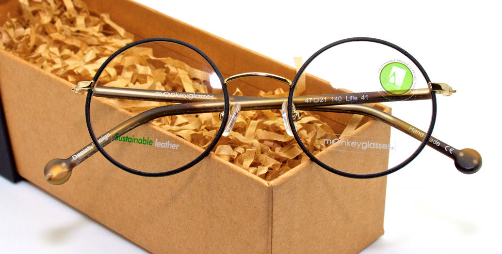 7321915a44 Handmade Sustainable Eyewear by Monkey Glasses With Sustainable Black  Leather Rims and Wood Effect Arms