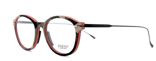 FEB31st Jacky Grey And Red Glasses Frames hand made from wood for The OLd GLasses Shop Ltd