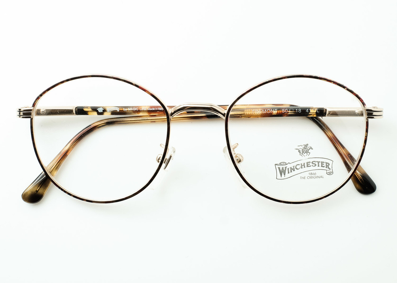 f6611274b6df Panto Eyeglasses in Gold and Tortoiseshell Italian FREMONT Frames By  Winchester