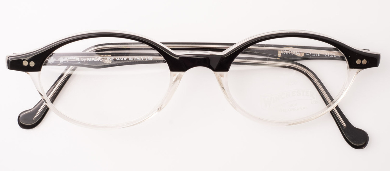 462957ce1a6 Vintage Winchester YOUCHAT Oval Italian Frames in Black and Clear ...