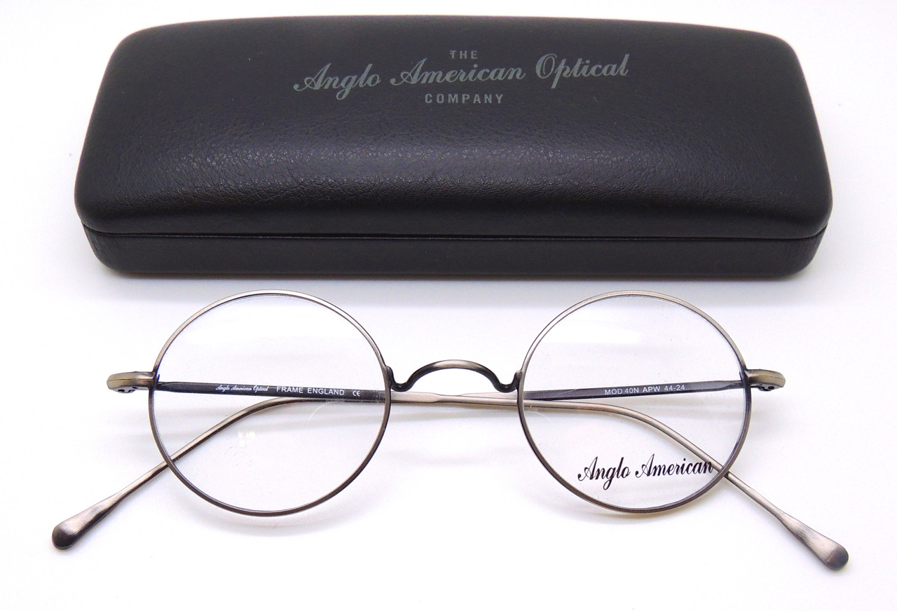 50a86fd45ab Anglo American 40N W Bridge Round Style Eye Glasses in Antique Pewter finish