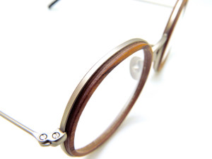 FEB31st TONIO Round Hand Made To Order In Italy Wood & Metal Combination Eyewear