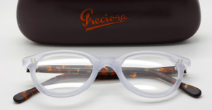 Frame Holland 784 Hand Made Preciosa Panto Shaped Glasses In A Frosted & Tortoiseshell Effect  Acetate