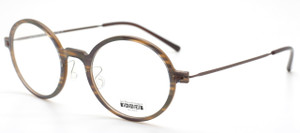 Les Pieces Uniques ZAZA Trivex Ultra Light Almost Round Style Glasses darkwood finish