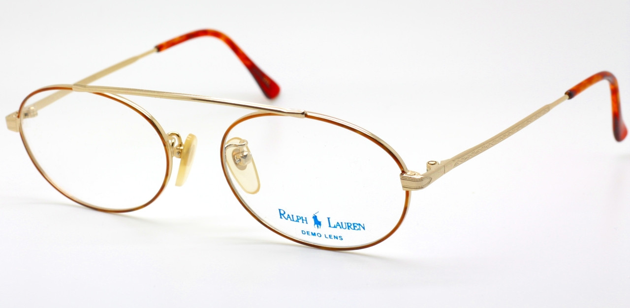 b1ea55d2fe Bridgeless Ralph Lauren 529 Vintage Gold   Light Tortoiseshell Effect Oval  Glasses