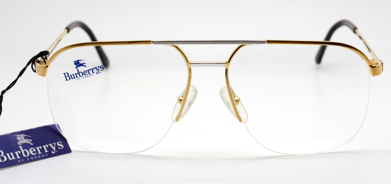 b03d3d414927 Classic Burberry B8826 Large Aviator Half Rim Eyewear in Gold with Silver  Brow Bar. Loading zoom