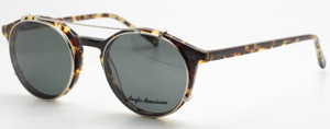 Vintage Style Anglo American 406 Tortoiseshell Effect Eyewear With Matching Sun Clip At The Old Glasses Shop