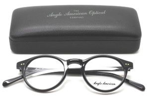 Anglo American 406 Classic Panto Glasses Frames In Lightweight Black Acrylic AA 406 BLK