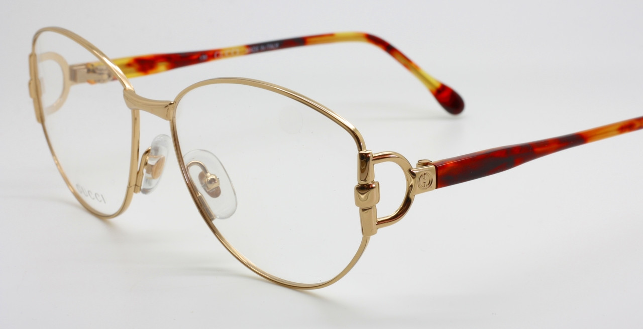 6443de9903 Gucci 2349 Large Eye Designer Glasses Frames In A Shiny Gold Finish ...