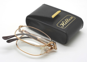 4d3a35194 Stores in a discrete case. Hilton Full Size FOLDING 24kt Gold Plated Luxury  Glasses 54mm lenses