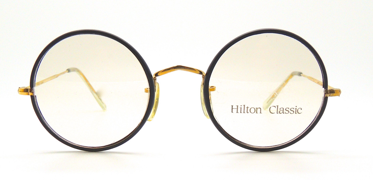 8034444f588 LAST ONE! Hilton Classic by Savile Row True Round Glasses 14kt Rolled Gold  Frames With Black 49mm Rims