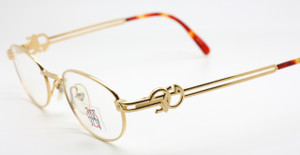 Shiny Gold Oval Jean Paul Gaultier 5101 Vintage Designer Glasses
