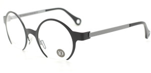 LIO Hand Made In Italy Black & Grey Round 'Cut Off' Design Eyewear UNIQUE!