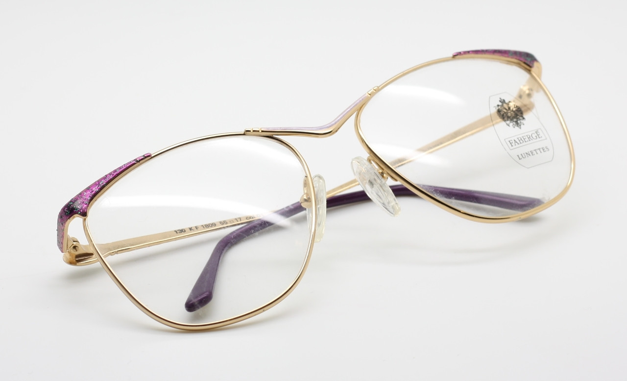 a91e6dab2057e Fabergé Lunettes Beautifully detailed Glitter Gold and Purple Ladies Eyewear
