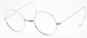 Savile Row Style Round Silver Glasses With Saddle Bridge And Curlsides At www.theoldglassesshop.co.uk