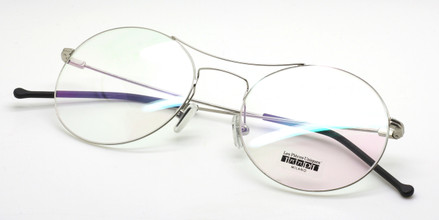Les Pieces Uniques MARGOT  round glasses in silver from The Old Glasses Shop Ltd