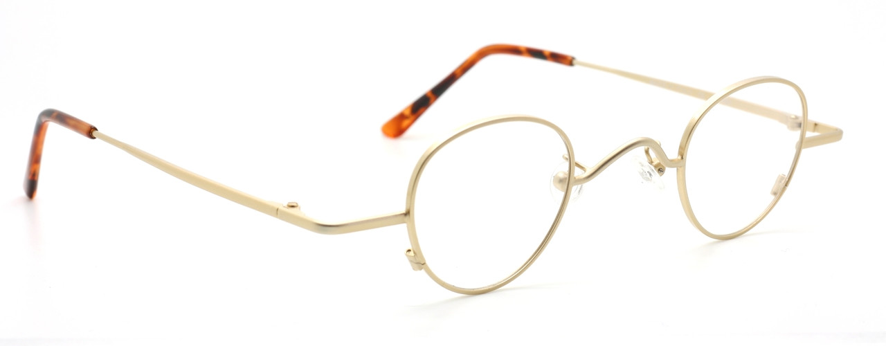 9dfb25b329acc Classic Vintage Small Panto Shaped Spectacles In A Matt Gold Finish ...