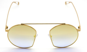 Agropoli Round Style Metal Gold Original Vintage Sunglasses from www.theoldglassesshop.co.uk