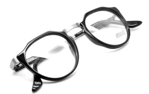 Archivio Moderno Retro 1930s Raised Panto Black & Silver Spectacles with Adjustable Arm Length By Lucio Stramare
