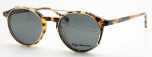 Japanese Havana Anglo American 406 Acrylic Eyeware And Matching Sun Clip At The Old Glasses Shop