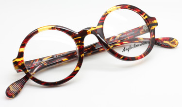 Anglo American 221 EVO TOWR fiery red and tortoiseshell round acrylic glasses from www.theoldglassesshop.co.uk