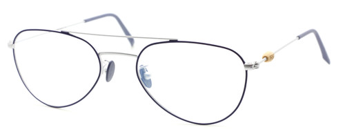 Dark Blue and Silver Shallow Aviator Vintage Style Spectacles At The Old Glasses Shop