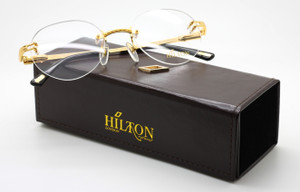 Luxury Hilton Monaco 304R 24kt Gold Plated Vintage Rimless Glasses
