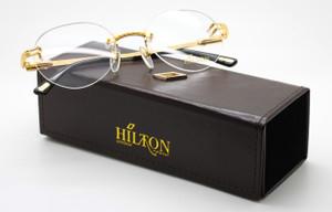Luxury Hilton Monaco 304R 24kt Gold Plated Vintage Rimless Glasses