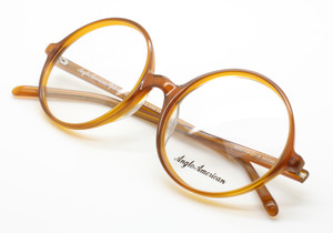 Anglo American 116 OP18 large round acetate light brown frames from www.theoldglassesshop.co.uk