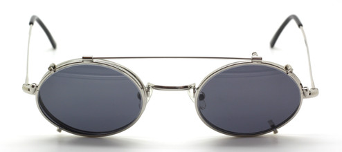 Vintage Oval Shiny Silver Eyewear With Hooked Ear Pieces  And Matching Sun Clip At The Old Glasses Shop Ltd