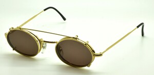 Oval Vintage Metal Glasses With Hooked Ear Pieces And Matching HAND MADE Sunclip At www.theoldglassesshop.co.uk