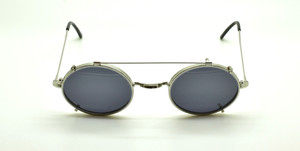 Oval Vintage Shiny Silver Eyewear With Matching Handmade Sunclip By Beuren At The Old Glasses Shop Ltd