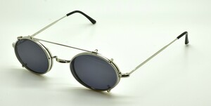 Vintage Style Shiny Silver Oval 'Saddle Bridge' Glasses WITH HAND MADE SUNGLASSES CLIP ON by Beuren 40-48mm Eyesizes With Hooked Ear Pieces