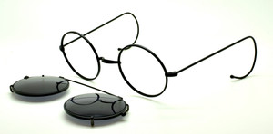Round Vintage Style Designer Glasses By Beuren With Matching Sunclip At www.theoldglassesshop.com