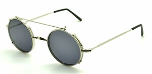 Vintage Round Silver Glasses Made In Italy With Matching Sunclip At www.theoldglassesshop.co.uk