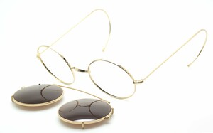 True round vintage shiny gold eyewear with matching clip on sunglasses at www.theoldglassesshop.co.uk