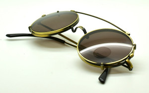 Antique Gold True Round Vintage Spectacles By Beuren With Matching Sunclip At The Old Glasses Shop