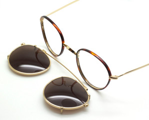Beuren 1730 Panto Shaped Eyewear With Dark Tortoiseshell Rims And Matching Hand Made Clip On Sunglasses At The Old Glasses Shop Ltd