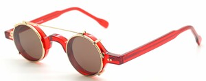 Preciosa 703 72 Small Round Red Aceatet Frame With Matching Clip on Sunglasses At The Old Glasses Shop Ltd